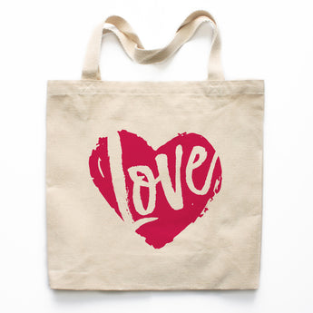 Love Heart Canvas Tote Bag