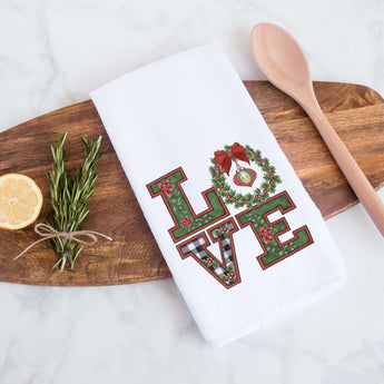 Christmas Love Decorative Christmas Holiday Kitchen Hand Towel, Farmhouse Christmas Decor