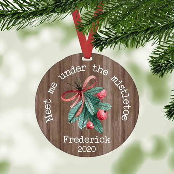 Meet me under the mistletoe personalized round christmas ornament