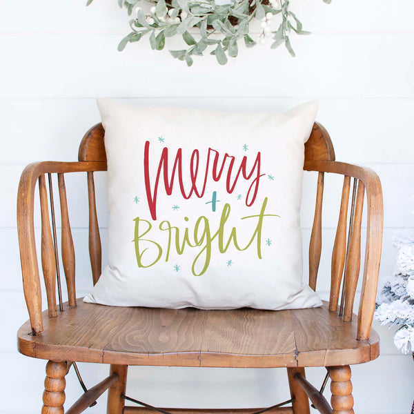merry and bright white canvas or burlap christmas holiday pillow cover by Heart & Willow Prints heartandwillowprints