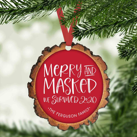 Merry and masked funny 2020 personalized christmas ornament
