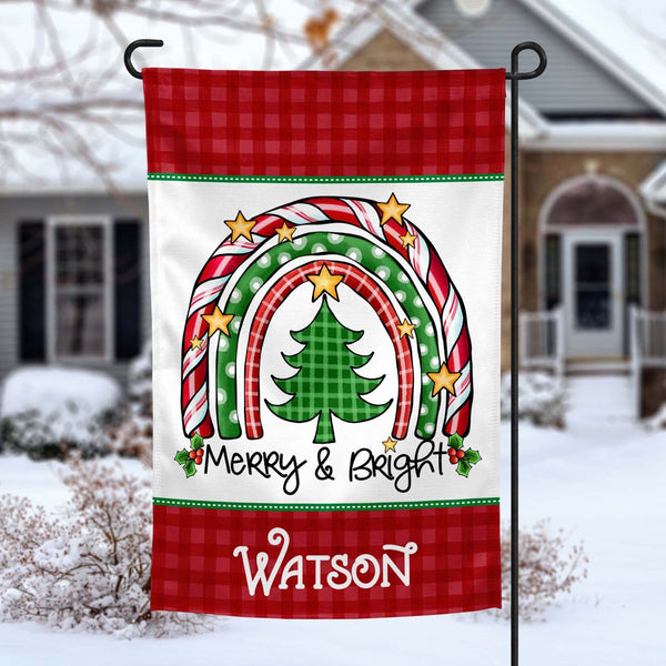 Merry and Bright Christmas Rainbow personalized holiday Garden Flag