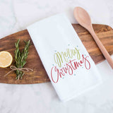 Merry Christmas Handlettered Decorative Christmas Holiday Kitchen Hand Towel