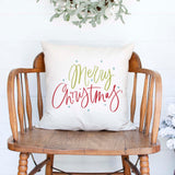 Merry Christmas white canvas or burlap christmas holiday pillow cover by Heart & Willow Prints heartandwillowprints