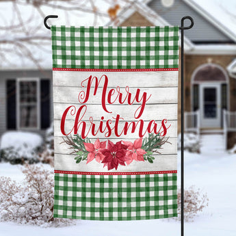 Merry Christmas Poinsettia personalized holiday garden flag