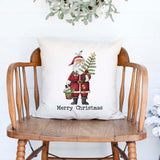 Merry Christmas Santa Christmas Holiday white canvas or burlap pillow cover, farmhouse christmas decor