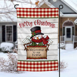 Merry Christmas Snowman personalized holiday Garden Flag