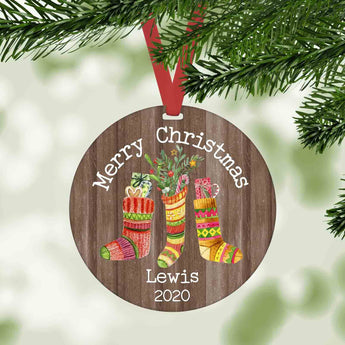 Merry Christmas Stockings personalized farmhouse christmas ornament