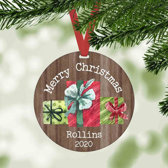 Merry Christmas Gift boxes personalized farmhouse christmas ornament