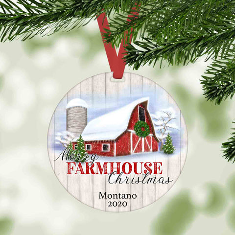 merry farmhouse christmas personalized ornament