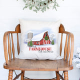 merry farmhouse christmas white canvas christmas holiday pillow cover by Heart & Willow Prints heartandwillowprints