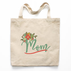 Mom Floral Canvas Tote Bag