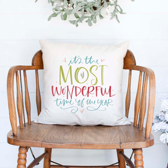 It's the Most Wonderful time of the year white canvas or burlap christmas holiday pillow cover by Heart & Willow Prints heartandwillowprints