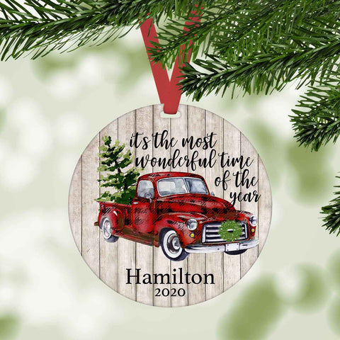 It's the most wonderful time of the year red truck personalized christmas ornament