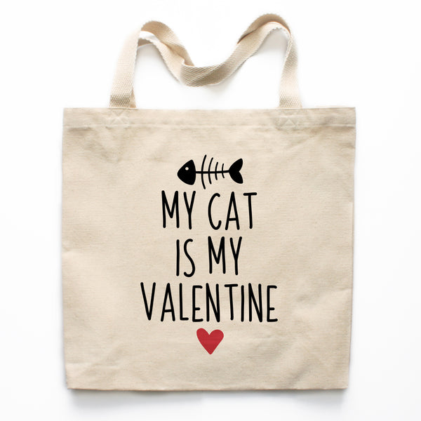 My Cat Is My Valentine Canvas Tote Bag