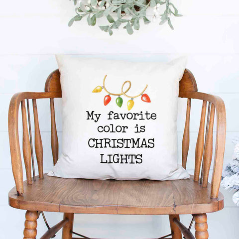My favorite color is Christmas lights Christmas Holiday White Canvas Pillow Cover, Farmhouse Christmas Decor