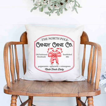North Pole Candy Cane Company Christmas Holiday White Canvas Pillow Cover, Farmhouse Christmas Decor