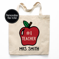 #1 Teacher Canvas Tote Bag