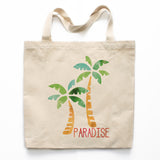 Watercolor Palm Tree Paradise Canvas Tote Bag