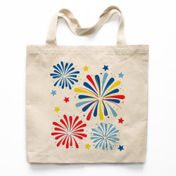 Patriotic Fireworks Canvas Tote Bag