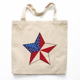 Patriotic Star Canvas Tote Bag