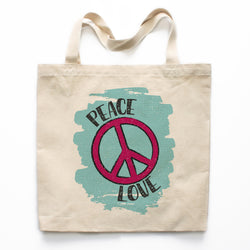 Peace And Love Canvas Tote Bag