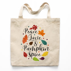 Peace Love and Pumpkin Spice Canvas Tote Bag