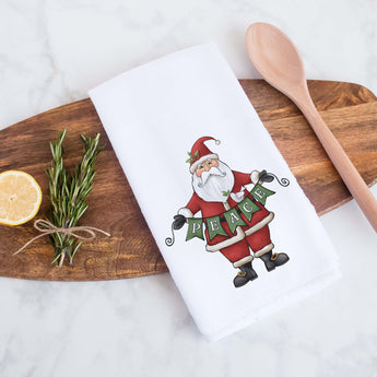 Peace Santa Claus Decorative Christmas Holiday Kitchen Hand Towel, Farmhouse Christmas Decor