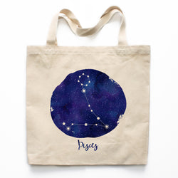 Pisces Zodiac Constellation Canvas Tote Bag