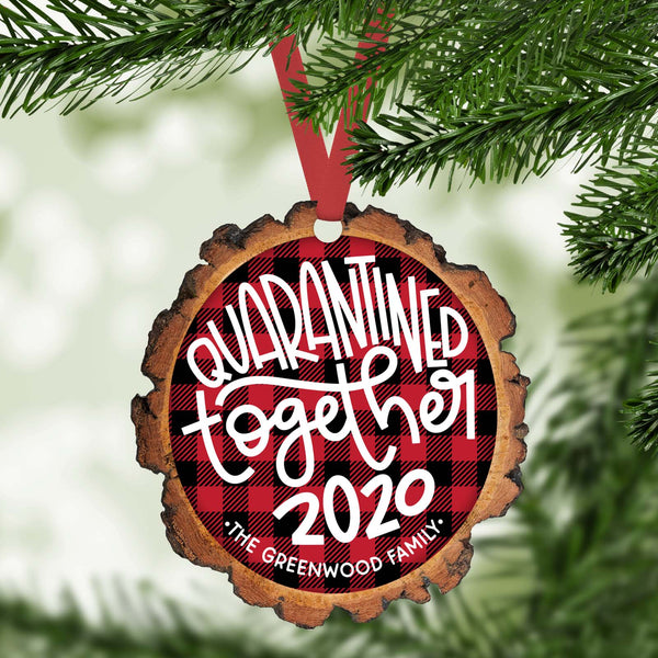 quarantined together funny 2020 personalized christmas ornament