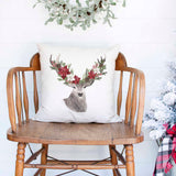 Rustic Deer Reindeer Christmas Holiday White Canvas Pillow Cover, Farmhouse Christmas Decor