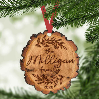 personalized faux burned wood slice christmas ornament