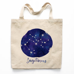 Sagittarius Zodiac Constellation Canvas Tote Bag