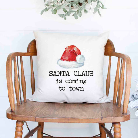 Santa Claus is coming to town Santa Hat Christmas Holiday White Canvas Pillow Cover, Farmhouse Christmas Decor