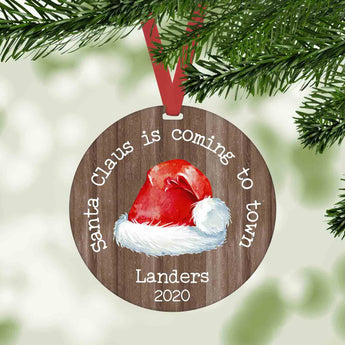 Santa claus is coming to town personalized farmhouse christmas ornament