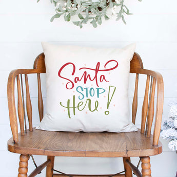santa stop here white canvas or burlap christmas holiday pillow cover by Heart & Willow Prints heartandwillowprints