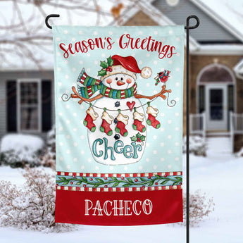 Season's Greetings Snowman personalized christmas holiday Garden Flag