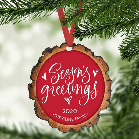 season's greetings faux wood slice personalized christmas ornament