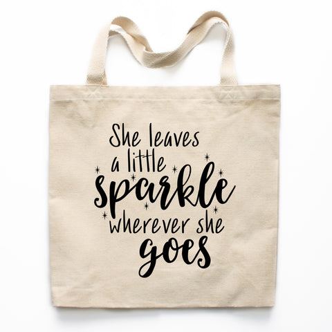 She Leaves A Little Sparkle Wherever She Goes Canvas Tote Bag