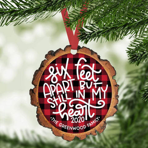 six feet apart but still in my heart  funny 2020 personalized christmas ornament