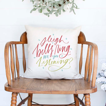 sleigh bells ring white canvas or burlap christmas holiday pillow cover by Heart & Willow Prints heartandwillowprints