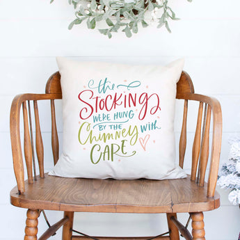 stockings were hung by the chimney with care white canvas or burlap christmas holiday pillow cover by Heart & Willow Prints heartandwillowprints