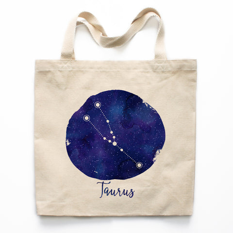Taurus Zodiac Constellation Canvas Tote Bag