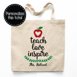 Teach Love Inspire Canvas Tote Bag