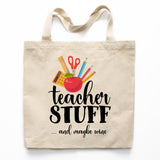 Teacher Stuff and Wine Canvas Tote Bag