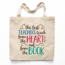 Teachers Teach from the Heart Canvas Tote Bag