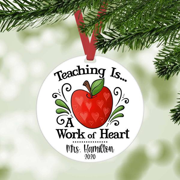 teaching is a work of heart personalized christmas ornament teacher gift