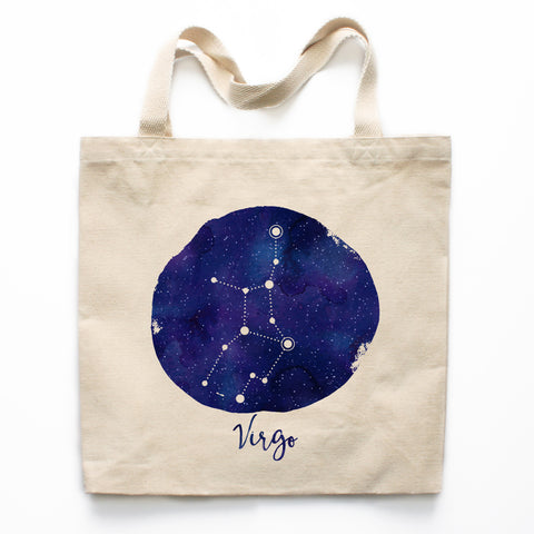 Virgo Zodiac Constellation Canvas Tote Bag