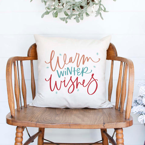 warm winter wishes white canvas christmas holiday pillow cover by Heart & Willow Prints heartandwillowprints