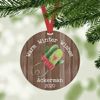 warm winter wishes personalized christmas ornament